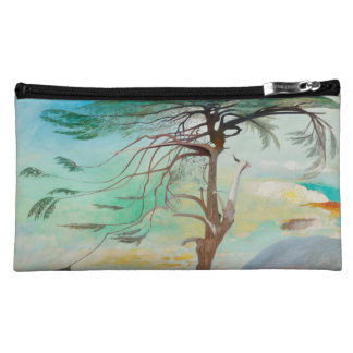 Lonely Cedar Tree Landscape Painting Cosmetics Bags