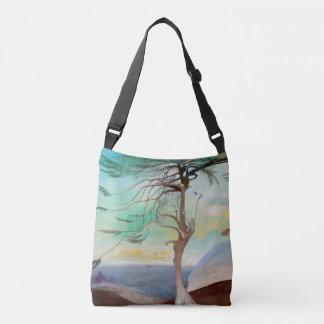 Lonely Cedar Tree Landscape Painting Crossbody Bag