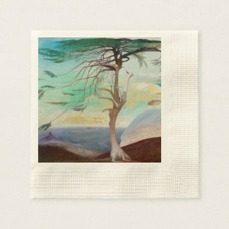 Lonely Cedar Tree Landscape Painting Disposable Napkin