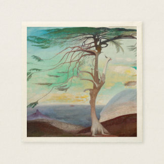 Lonely Cedar Tree Landscape Painting Disposable Serviettes