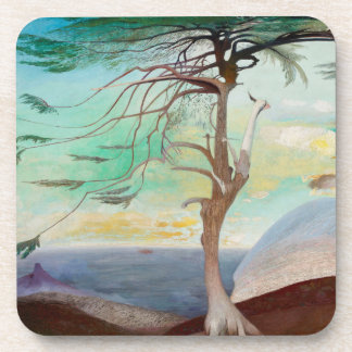 Lonely Cedar Tree Landscape Painting Drink Coasters