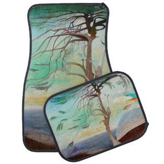 Lonely Cedar Tree Landscape Painting Floor Mat