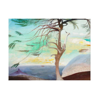Lonely Cedar Tree Landscape Painting Gallery Wrap Canvas
