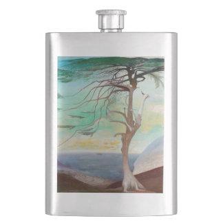 Lonely Cedar Tree Landscape Painting Hip Flask