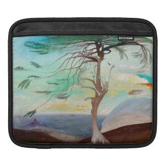 Lonely Cedar Tree Landscape Painting iPad Sleeve