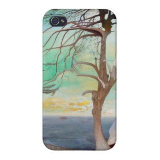 Lonely Cedar Tree Landscape Painting iPhone 4 Covers