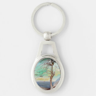 Lonely Cedar Tree Landscape Painting Key Ring