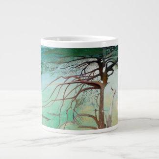 Lonely Cedar Tree Landscape Painting Large Coffee Mug