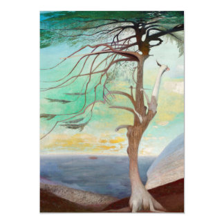 Lonely Cedar Tree Landscape Painting Magnetic Invitations