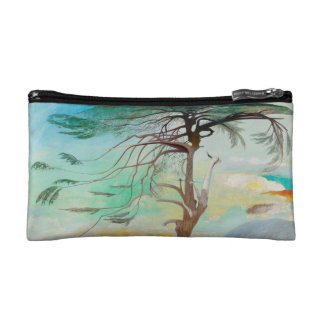 Lonely Cedar Tree Landscape Painting Makeup Bag