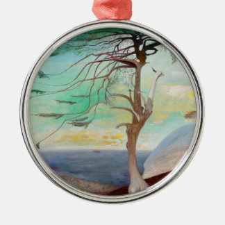 Lonely Cedar Tree Landscape Painting Metal Ornament