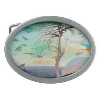 Lonely Cedar Tree Landscape Painting Oval Belt Buckles