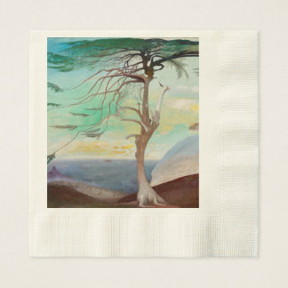 Lonely Cedar Tree Landscape Painting Paper Napkin