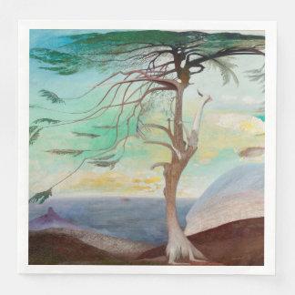 Lonely Cedar Tree Landscape Painting Paper Napkins