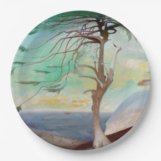 Lonely Cedar Tree Landscape Painting Paper Plate