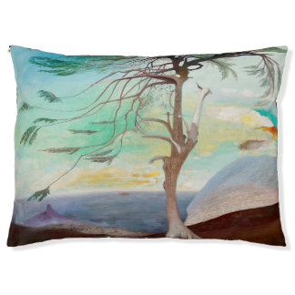 Lonely Cedar Tree Landscape Painting Pet Bed