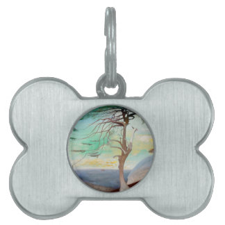 Lonely Cedar Tree Landscape Painting Pet Tag