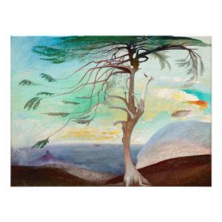 Lonely Cedar Tree Landscape Painting Photo Art