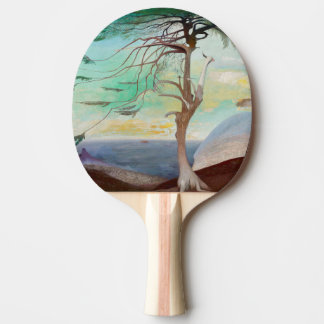 Lonely Cedar Tree Landscape Painting Ping Pong Paddle