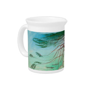 Lonely Cedar Tree Landscape Painting Pitcher