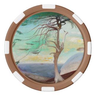 Lonely Cedar Tree Landscape Painting Poker Chips