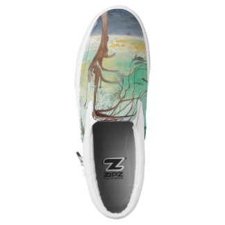 Lonely Cedar Tree Landscape Painting Printed Shoes