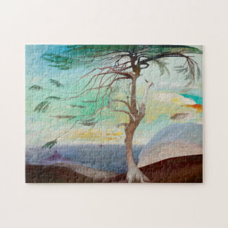 Lonely Cedar Tree Landscape Painting Puzzle