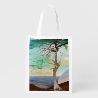 Lonely Cedar Tree Landscape Painting Reusable Grocery Bag