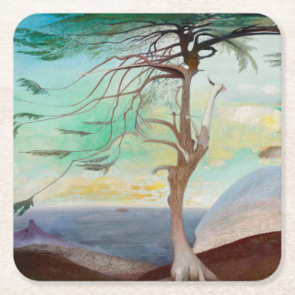 Lonely Cedar Tree Landscape Painting Square Paper Coaster
