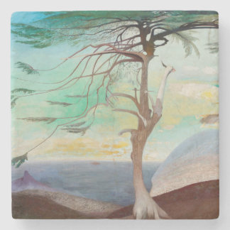 Lonely Cedar Tree Landscape Painting Stone Coaster