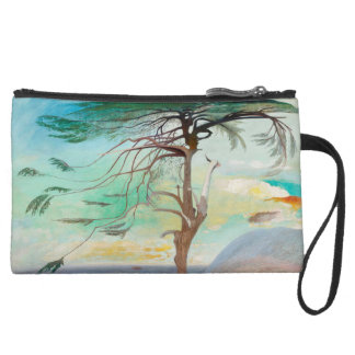 Lonely Cedar Tree Landscape Painting Suede Wristlet