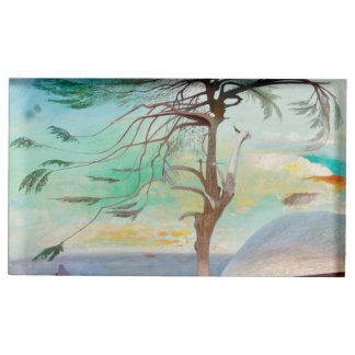 Lonely Cedar Tree Landscape Painting Table Card Holder