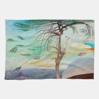 Lonely Cedar Tree Landscape Painting Tea Towel