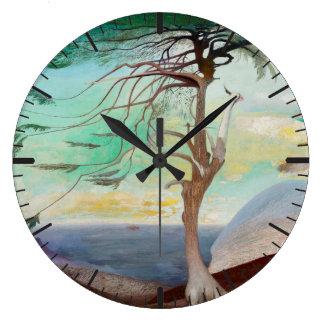 Lonely Cedar Tree Landscape Painting Wall Clock