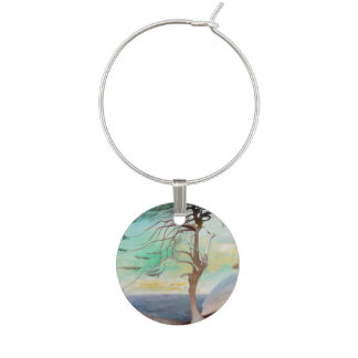 Lonely Cedar Tree Landscape Painting Wine Charm