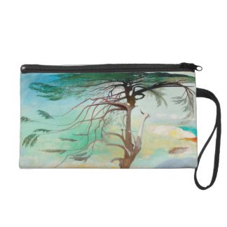 Lonely Cedar Tree Landscape Painting Wristlet Clutch