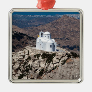 Lonely church in Greek mountains Silver-Colored Square Ornament