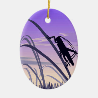 Lonely Cricket Ceramic Ornament