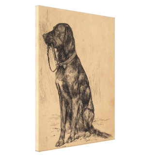 Lonely Dog holding his own leash, Vintage Pen Ink Canvas Print