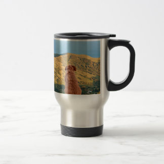 Lonely dog watching on Gibraltar strait Travel Mug