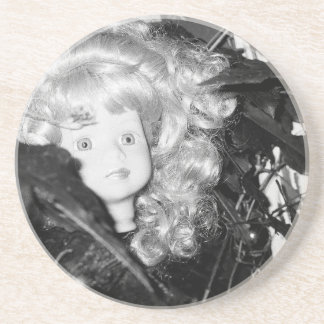 Lonely Doll Head Drink Coaster