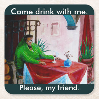 LONELY FRIEND by Slipperywindow Square Paper Coaster