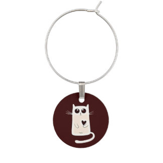 Lonely Hearts Cat Wine Glass Charm