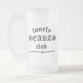 LONELY HEARTS CLUB FROSTED GLASS BEER MUG