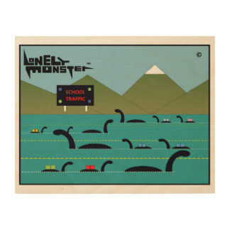 Lonely Monster School Run Wood Print