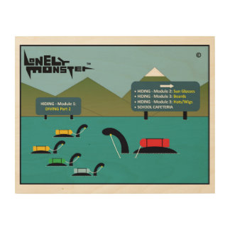 Lonely Monsters at Hiding/Diving School Wood Wall Art