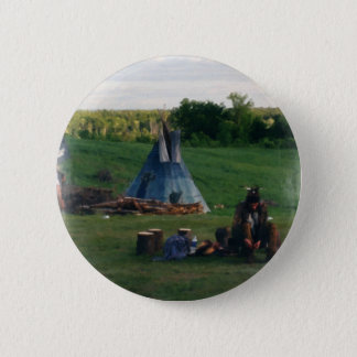Lonely Native American Indian 6 Cm Round Badge