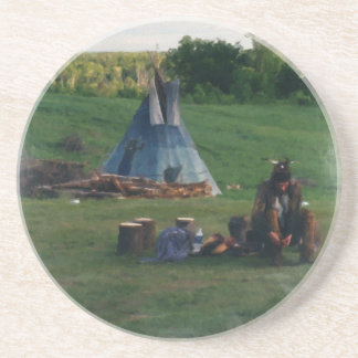 Lonely Native American Indian Sandstone Coaster