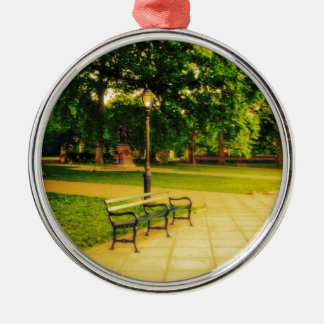 Lonely Park Bench Silver-Colored Round Decoration