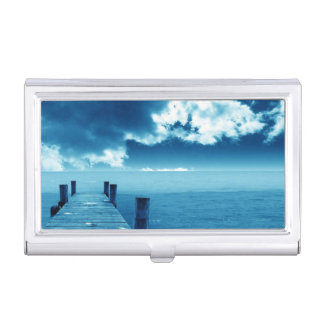 lonely pier photograph business card cases